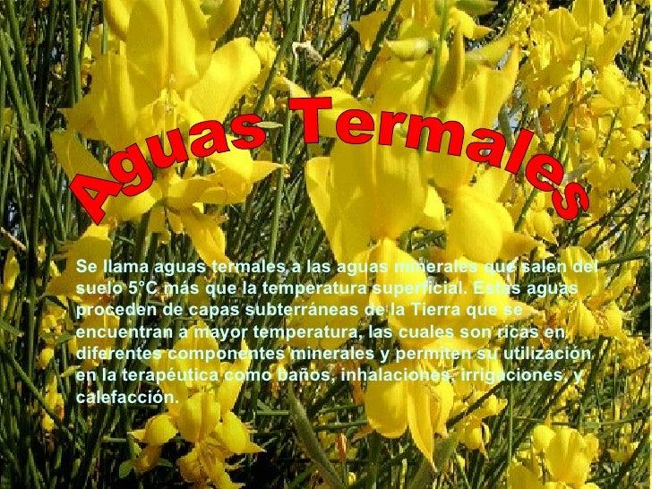 Aguas Termales Se llama aguas termales a las aguas minerales que salen del suelo 5°C más que la temperatura superficial. E...