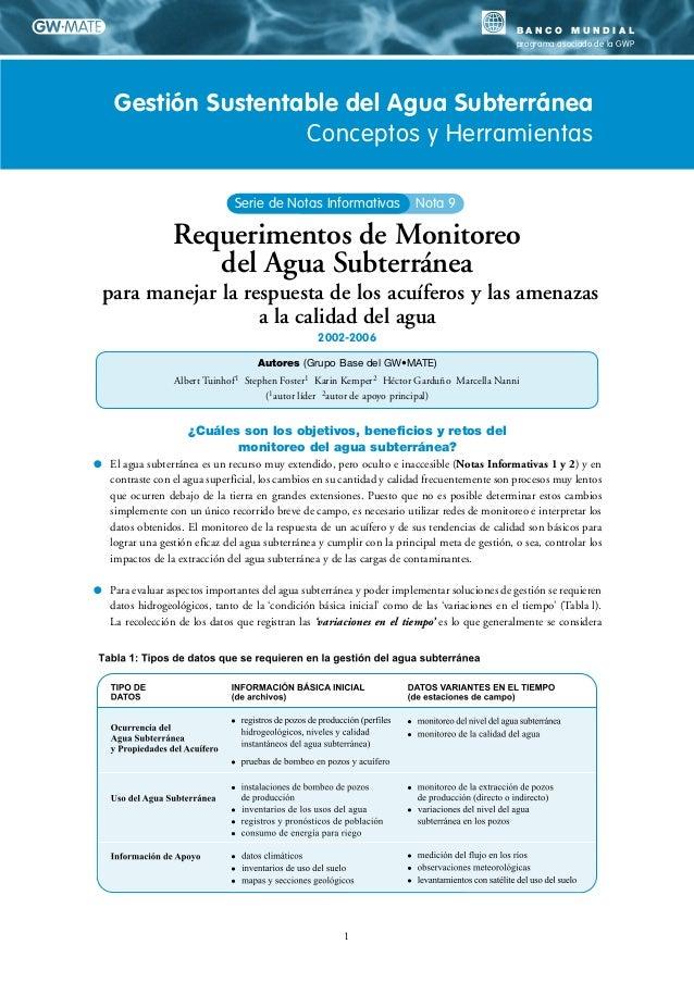 B A N C O M U N D I A L  Requerimentos de Monitoreo  del Agua Subterránea  para manejar la respuesta de los acuíferos y la...