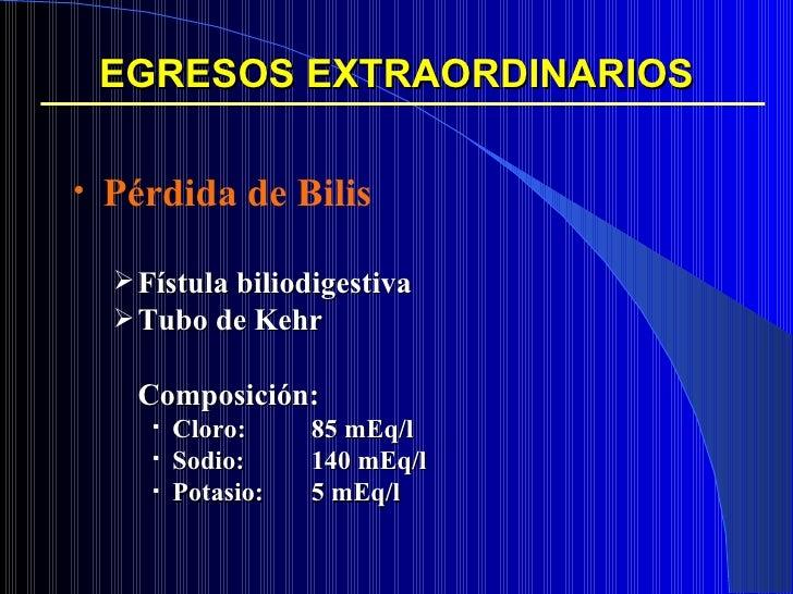 EGRESOS EXTRAORDINARIOS <ul><li>Pérdida de Bilis </li></ul><ul><ul><li>Fístula biliodigestiva </li></ul></ul><ul><ul><li>T...