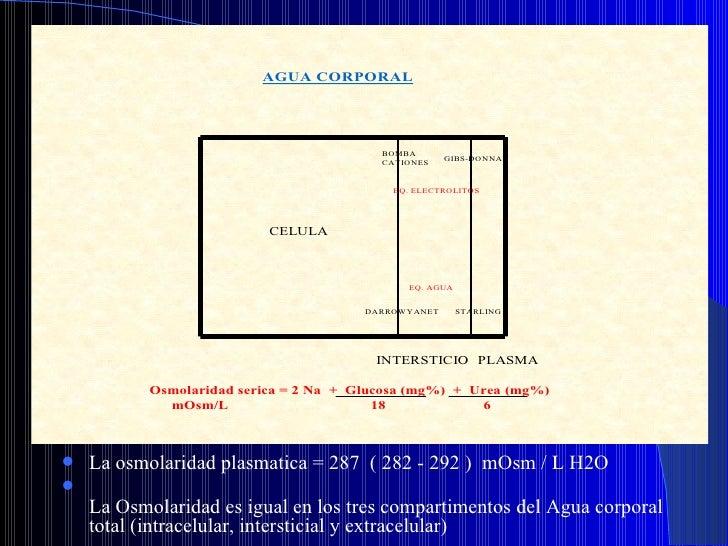 <ul><li>La osmolaridad plasmatica = 287  ( 282 - 292 )  mOsm / L H2O </li></ul><ul><li>La Osmolaridad es igual en los tres...