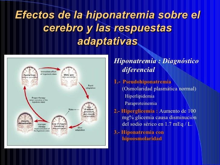 Efectos de la hiponatremia sobre el cerebro y las respuestas adaptativas <ul><li>Hiponatremia : Diagnóstico diferencial </...