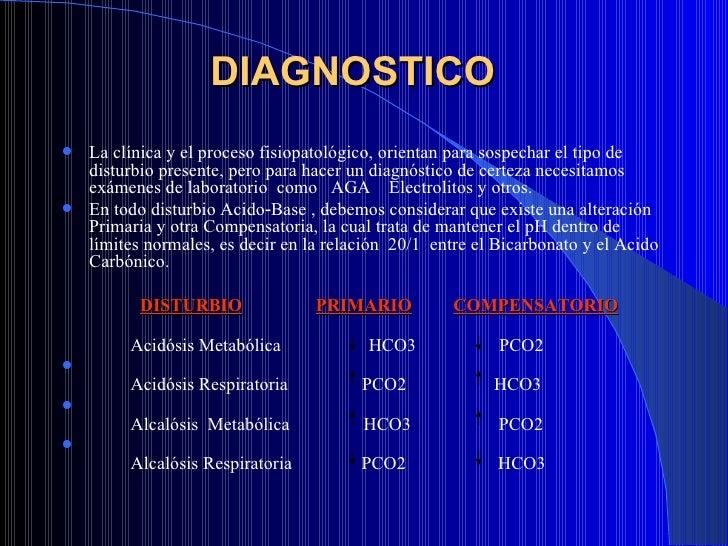 DIAGNOSTICO  <ul><li>La clínica y el proceso fisiopatológico, orientan para sospechar el tipo de disturbio presente, pero ...