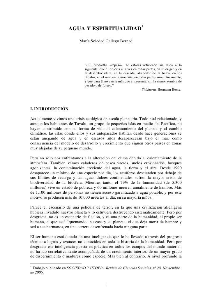 """AGUA Y ESPIRITUALIDAD*                              María Soledad Gallego Bernad                                    """"-Sí, ..."""