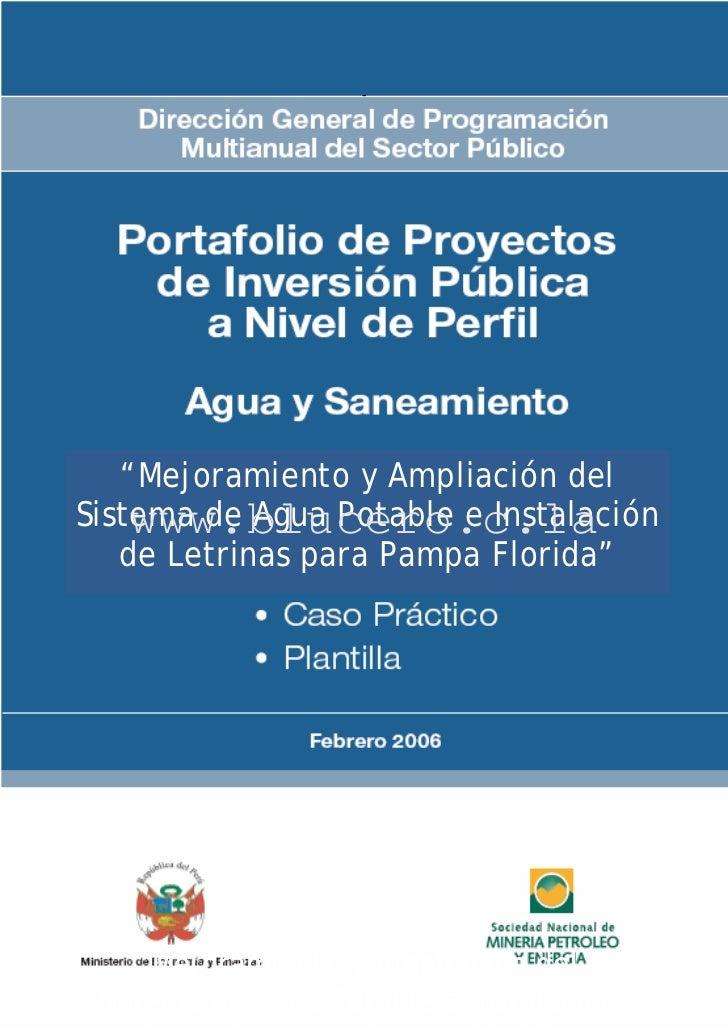 """-   """"Mejoramiento y Ampliación delSistema de Agua Potable e Instalación    www.blucero.c.la   de Letrinas para Pampa Flori..."""