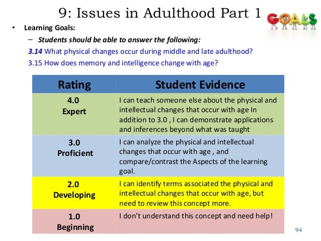 Changes that occur throughout early middle and late adulthood