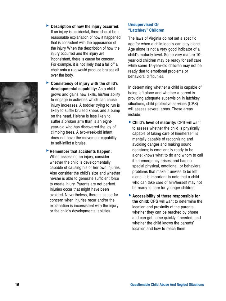 A Guide for Recognizing Child Abuse and Neglect