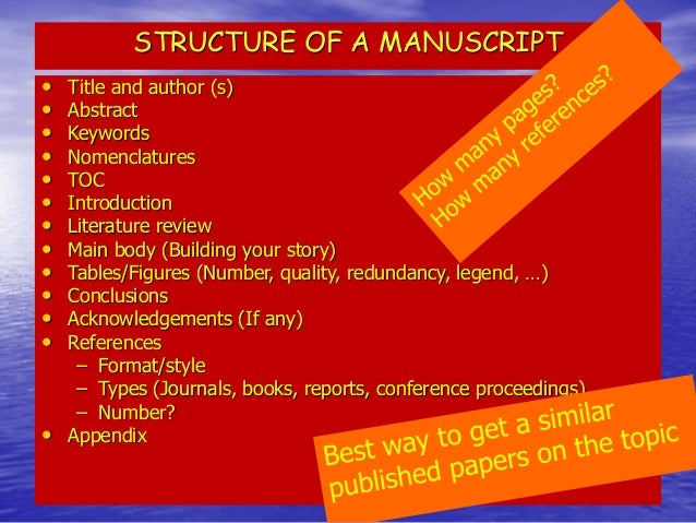 Title  •Tell readers what your paper is all about  •The title of the manuscript needs to be short and relevant to the subj...