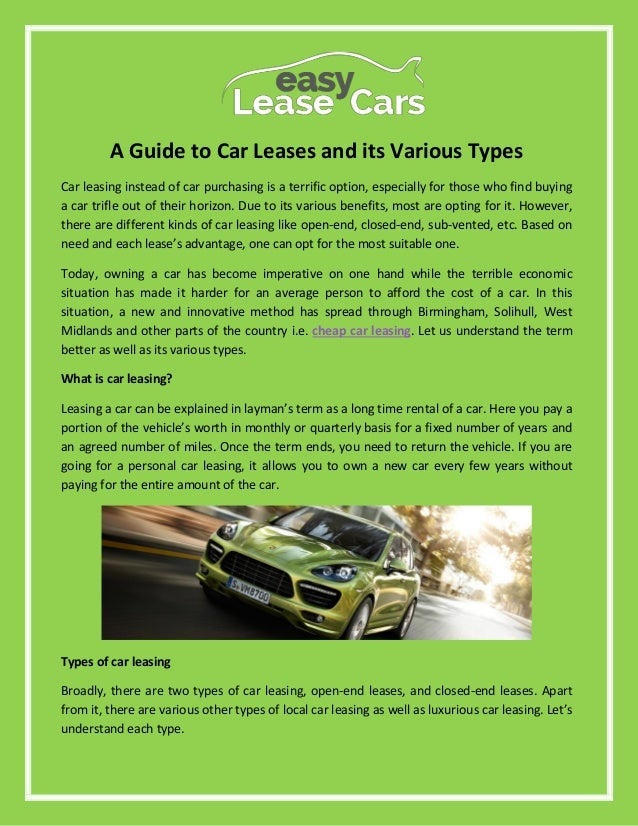 Sub Lease A Car >> A Guide To Car Leases And Its Various Types