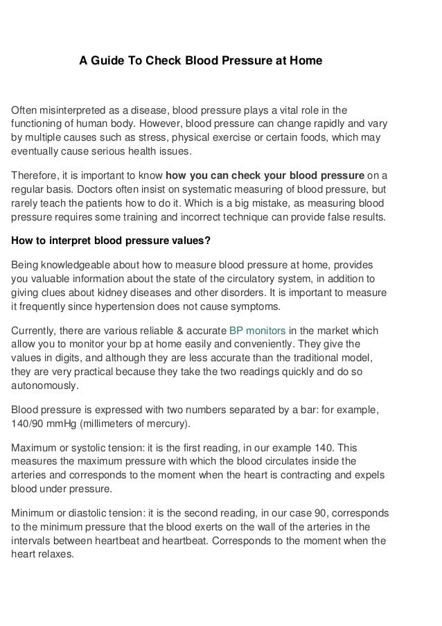 A Guide To Check Blood Pressure At Home