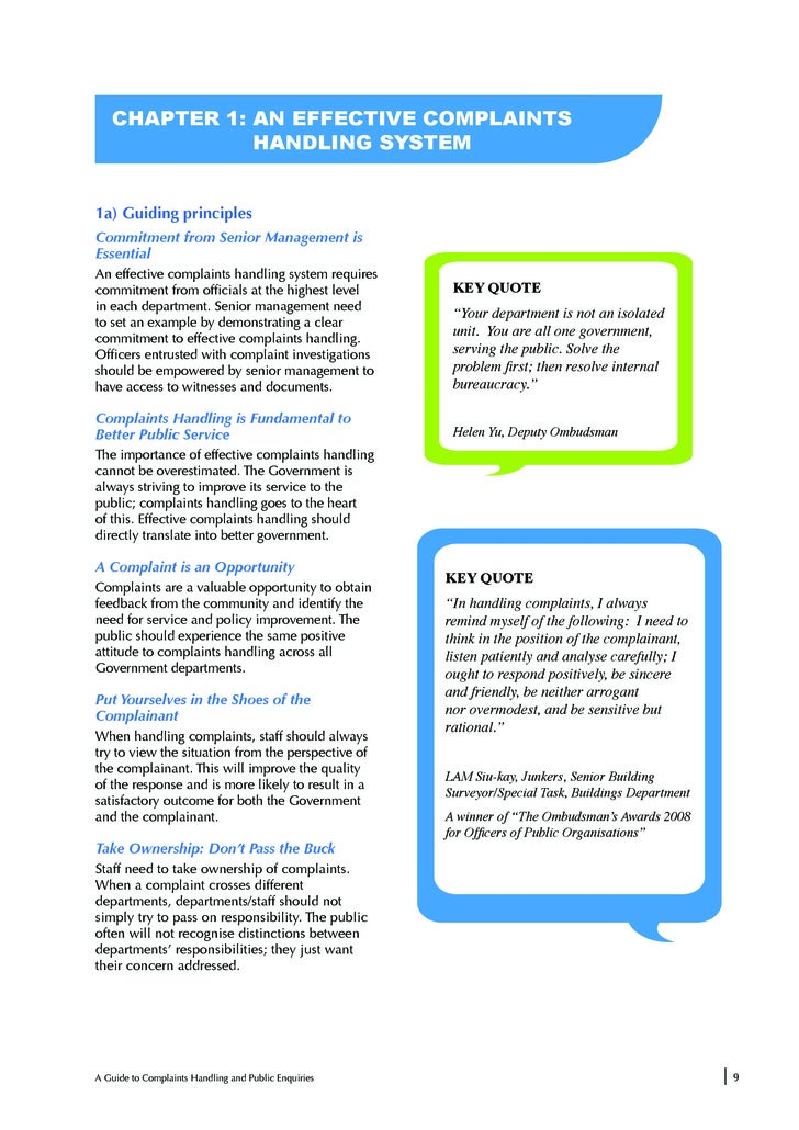 guide to complaints handling 2018-3-29 a guide to complaints handling and public enquiries 5 on public service delivery, citizens gave the lowest average rating (47 out of 10) to the.