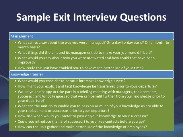 9. Sample Exit Interview Questions ...
