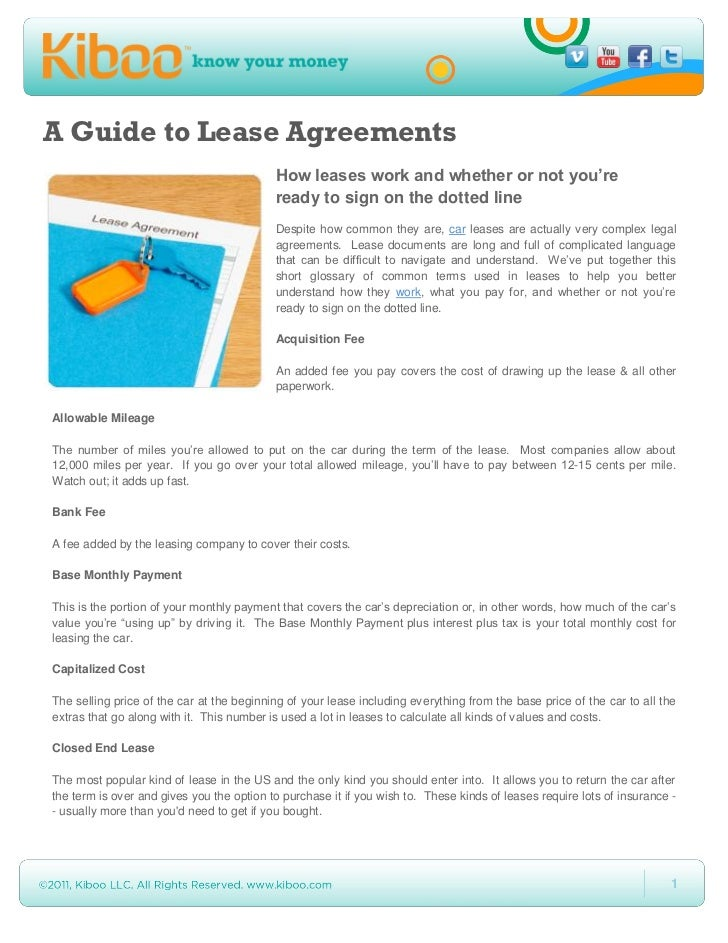 A Guide to Lease Agreements                                           How leases work and whether or not you're           ...