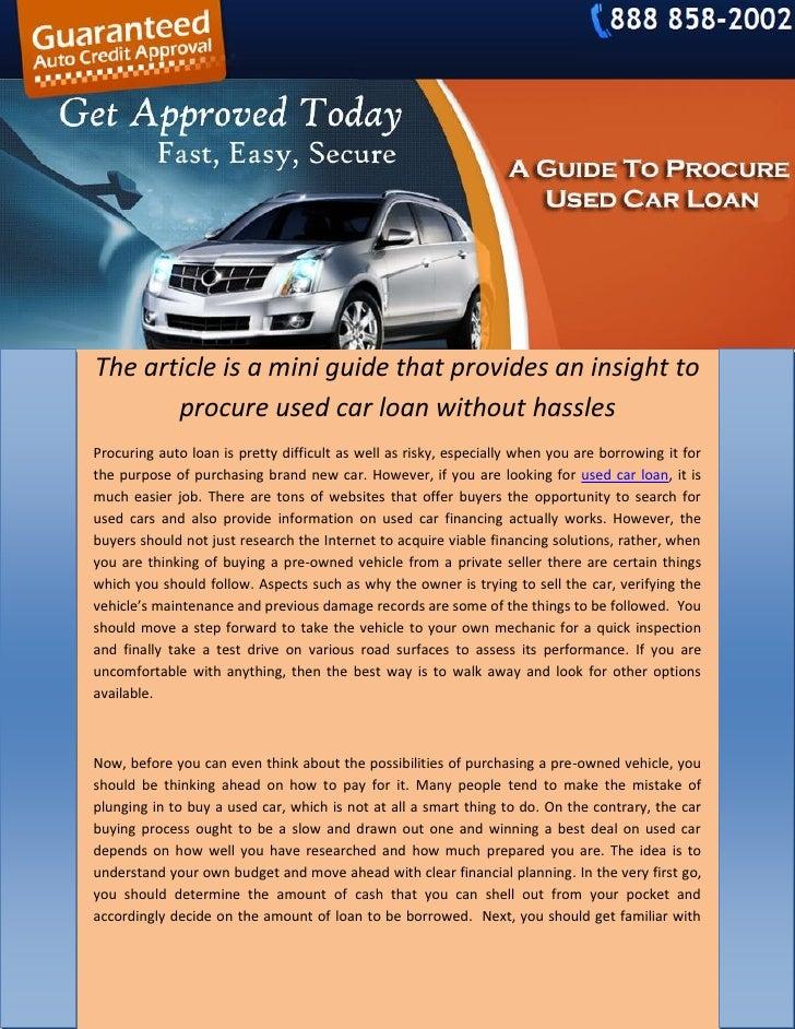 Used Car Loan >> A Guide To Procure Used Car Loan