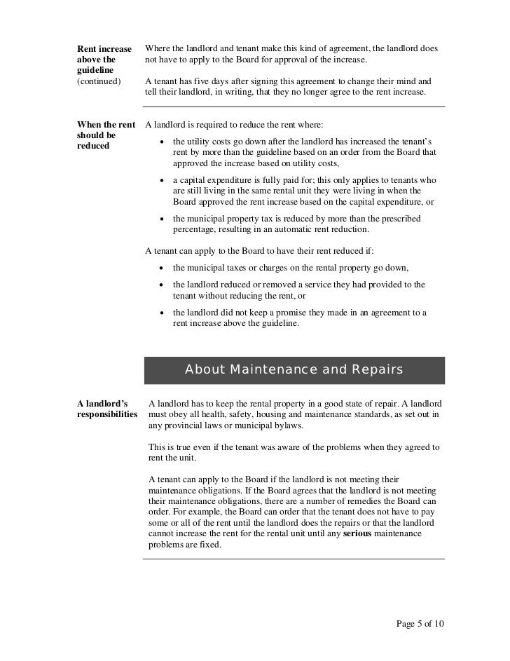 form to increase rent