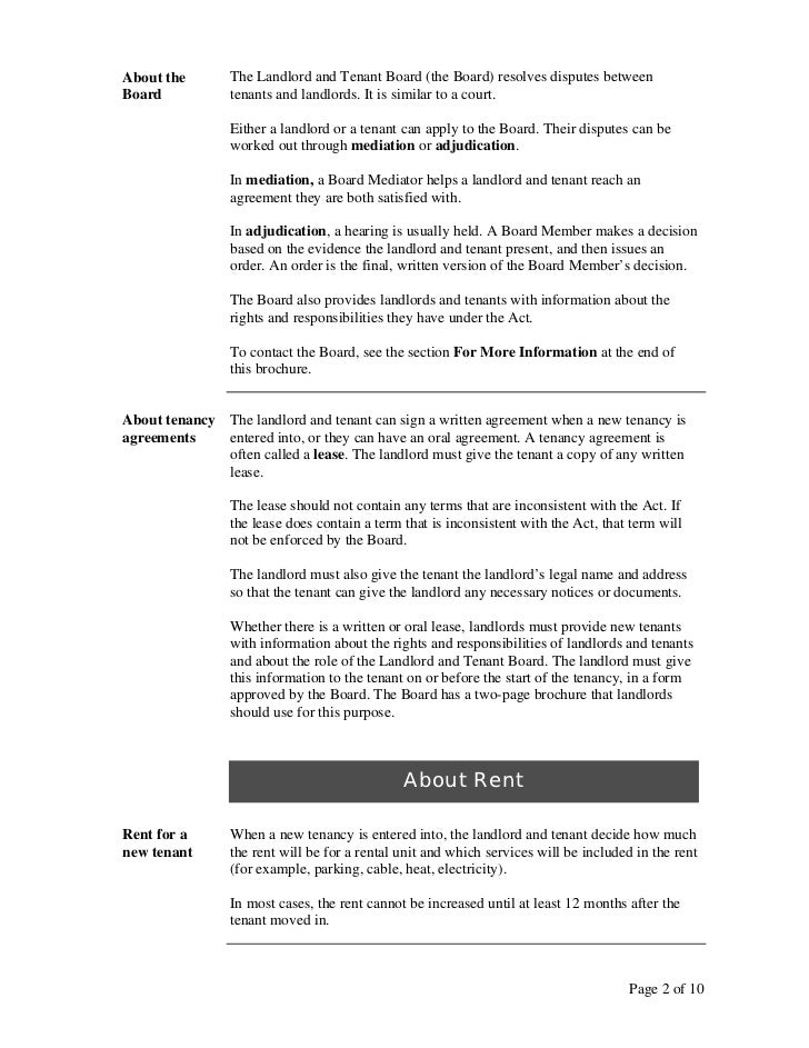 A guide to the ontario residential tenancies act page 1 of 10 2 about the the landlord spiritdancerdesigns Gallery