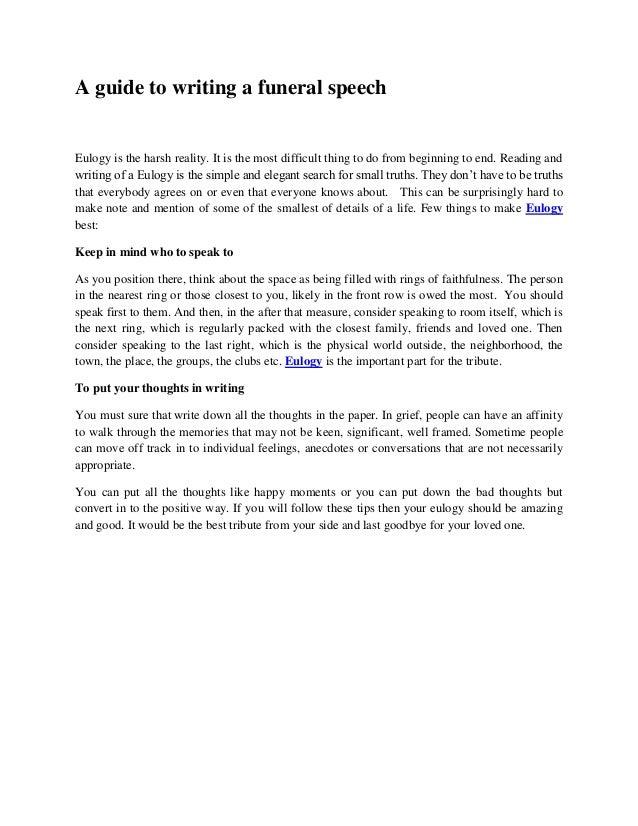 Funeral service speech examples