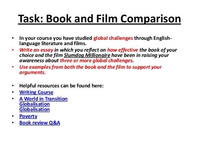 Film and novel comparison essay outline
