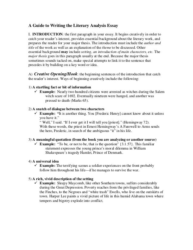 a guide to writing the literary analysis essay a guide to writing the literary analysis essay i introduction the first paragraph in