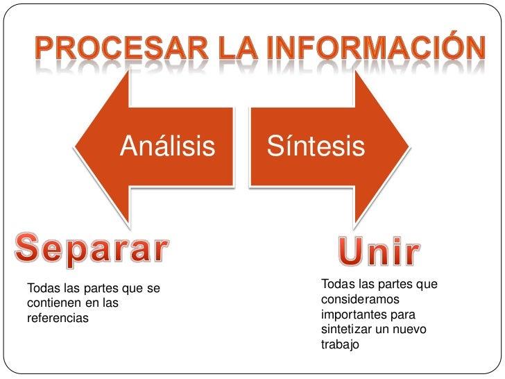 Procesar la información<br />Separar<br />Unir<br />Todas las partes que consideramos importantes para sintetizar un nuevo...