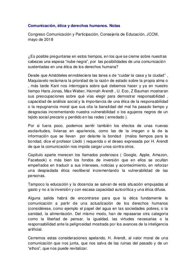 Comunicación, ética y derechos humanos. Notas Congreso Comunicación y Participación, Consejería de Educación, JCCM, mayo d...
