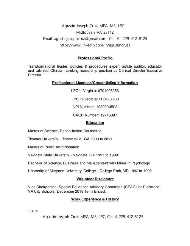 Lpc Resume | Agustin J Cruz Resume 2017