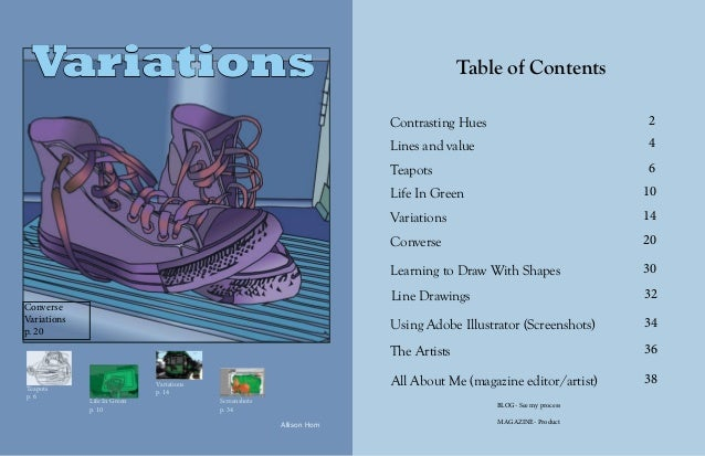Variations 1 Table of Contents 2 4 6 10 14 20 30 32 34 36 38 Contrasting Hues Lines and value Teapots Life In Green Variat...