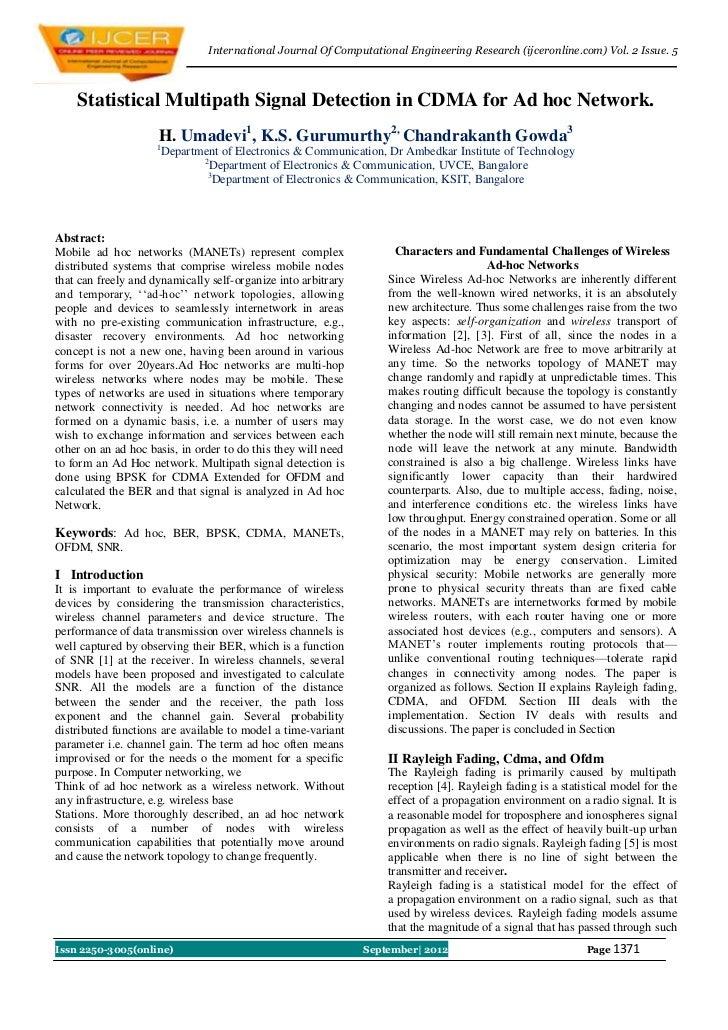 International Journal Of Computational Engineering Research (ijceronline.com) Vol. 2 Issue. 5    Statistical Multipath Sig...