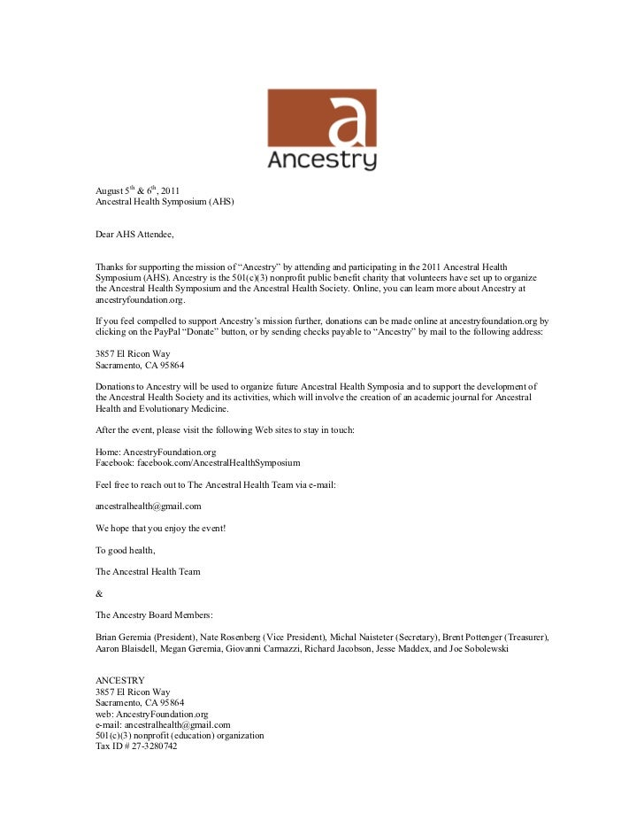 """August 5th & 6th, 2011Ancestral Health Symposium (AHS)Dear AHS Attendee,Thanks for supporting the mission of """"Ancestry"""" by..."""