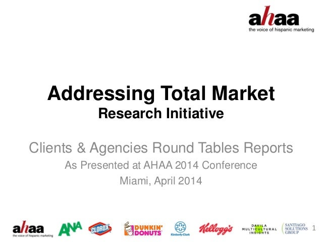 Addressing Total Market Research Initiative Clients & Agencies Round Tables Reports As Presented at AHAA 2014 Conference M...