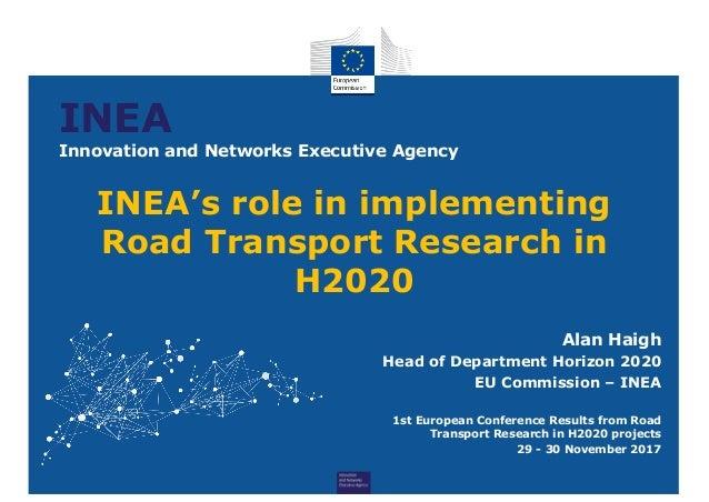 INEA Innovation and Networks Executive Agency Alan Haigh Head of Department Horizon 2020 EU Commission – INEA 1st European...