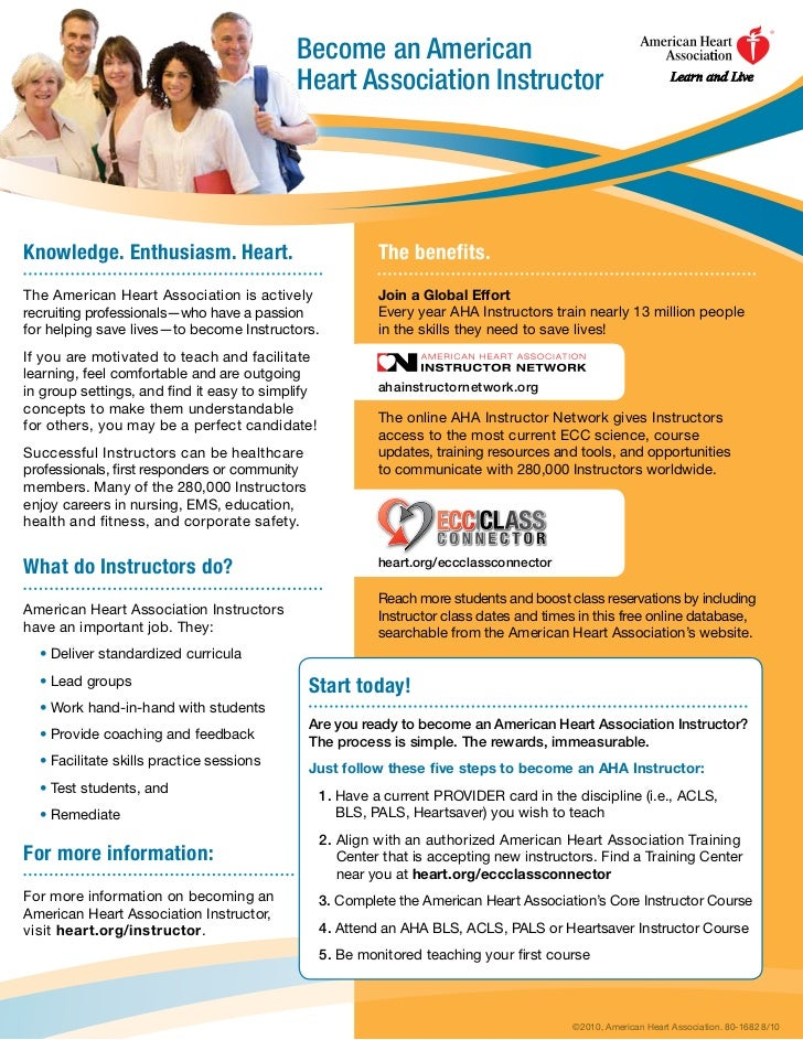 Become an American                                           Heart Association InstructorKnowledge. Enthusiasm. Heart.    ...