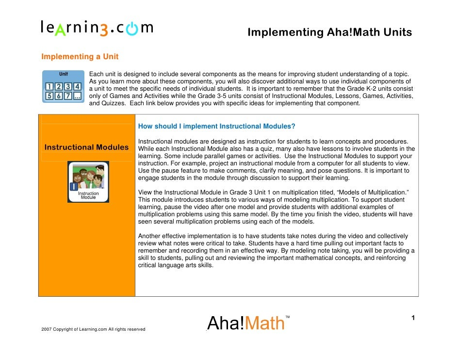 Implementing Aha!Math Units  Implementing a Unit                        Each unit is designed to include several component...