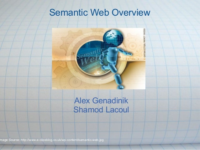 Alex Genadinik Shamod Lacoul Semantic Web Overview mage Source: http://www.e-clipsblog.co.uk/wp-content/semantic-web.jpg