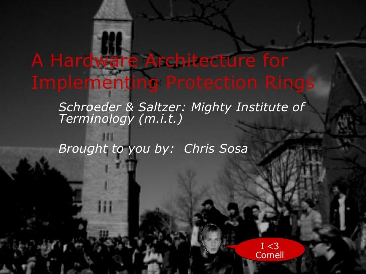 A Hardware Architecture for Implementing Protection Rings Schroeder & Saltzer: Mighty Institute of Terminology (m.i.t.) Br...