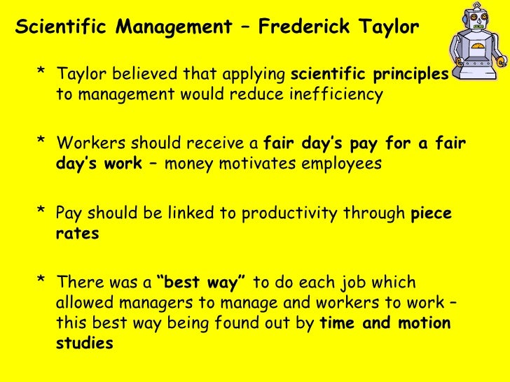 "scientific management by federick taylor a Under scientific management  frederick winslow taylor the principles of scientific management  expert frederick taylor,"" nd."