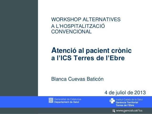WORKSHOP ALTERNATIVES A L'HOSPITALITZACIÓ CONVENCIONAL  Atenció al pacient crònic a l'ICS Terres de l'Ebre Blanca Cuevas B...