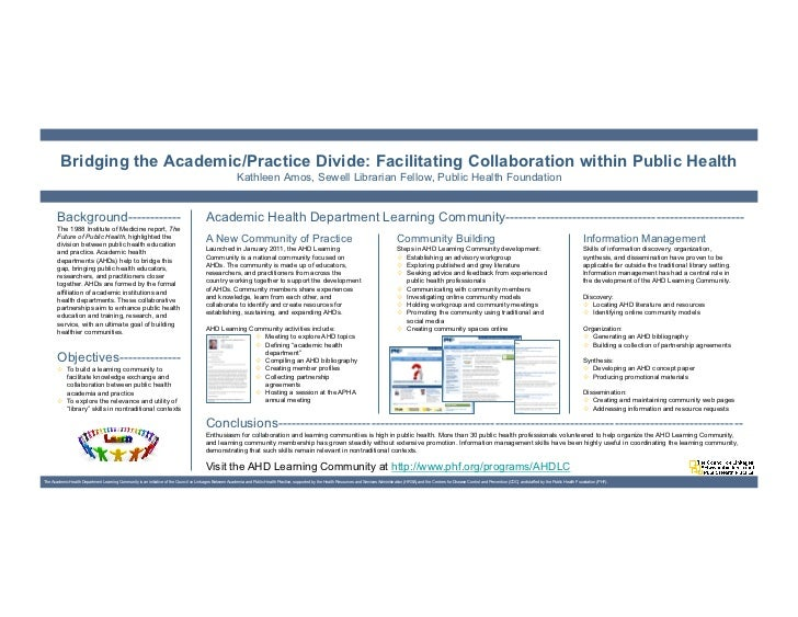 Bridging the Academic/Practice Divide: Facilitating Collaboration within Public Health                                    ...