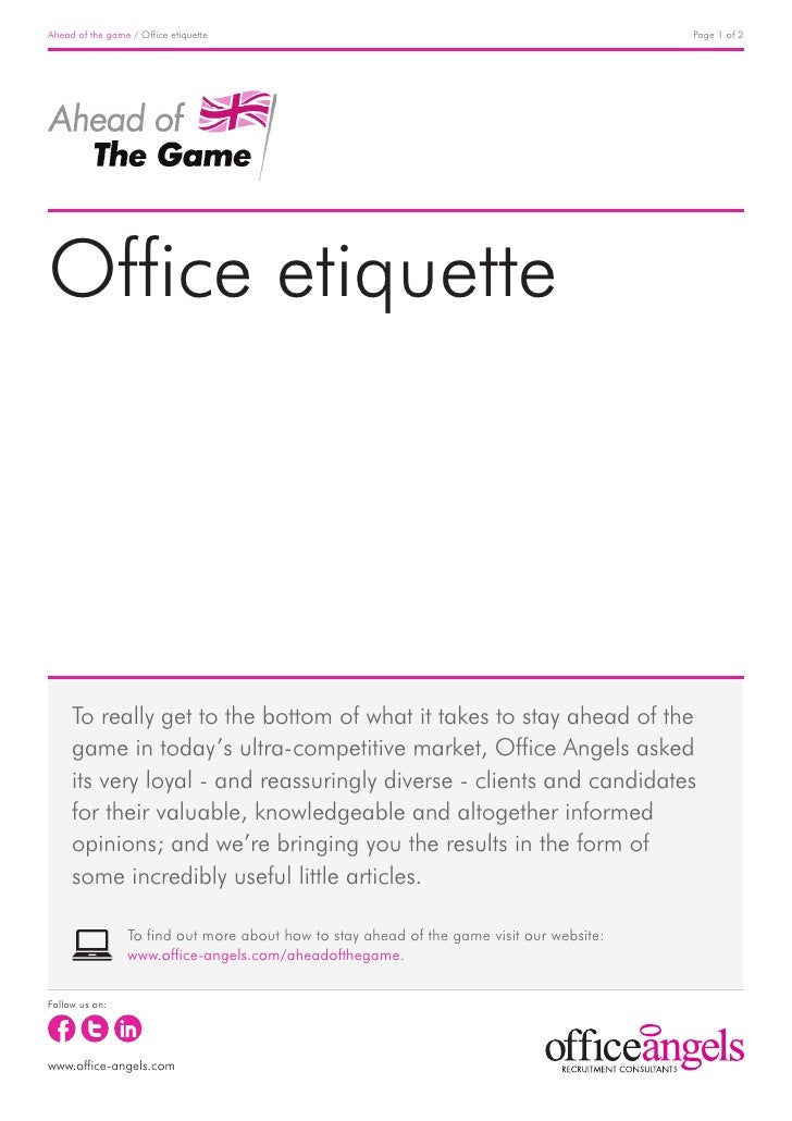 Ahead of the game / Office etiquette                                                       Page 1 of 2Office etiquette    ...