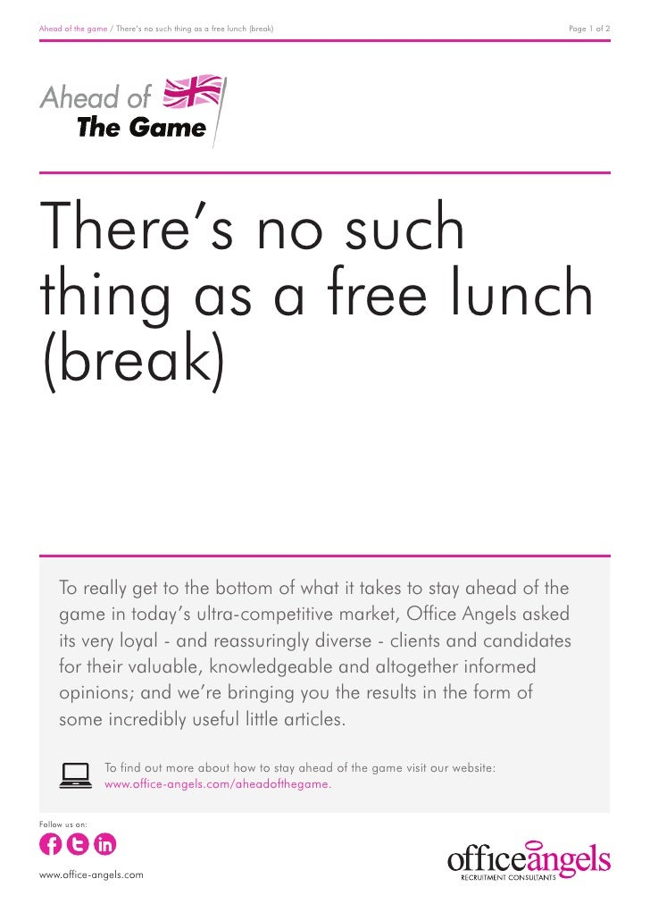Ahead of the game / There's no such thing as a free lunch (break)                           Page 1 of 2There's no suchthin...