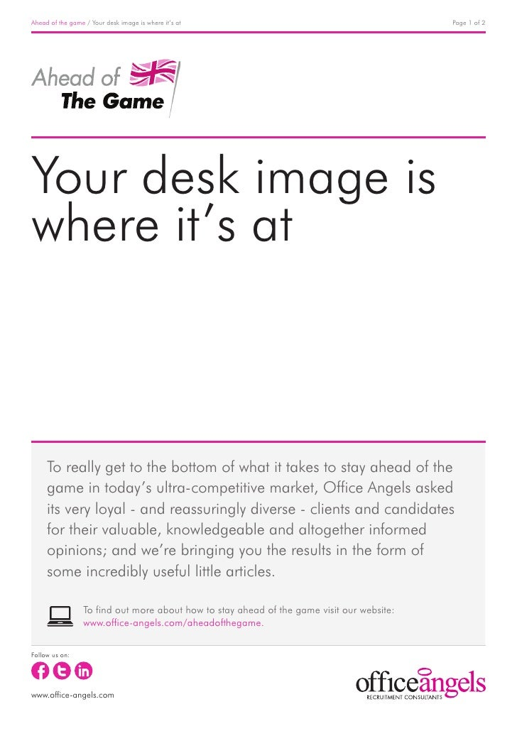 Ahead of the game / Your desk image is where it's at                                        Page 1 of 2Your desk image isw...