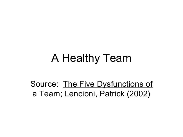 A Healthy Team Source: The Five Dysfunctions of a Team; Lencioni, Patrick (2002)