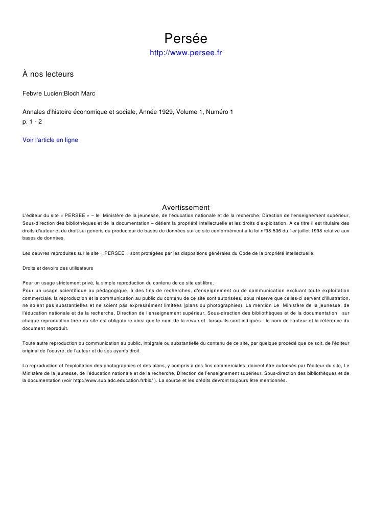 Persée                                                             http://www.persee.fr  À nos lecteurs  Febvre Lucien;Blo...
