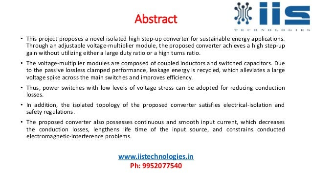 A high step up converter with voltage-multiplier modules for sustainable energy applications Slide 2