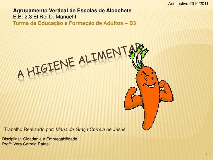 Ano lectivo 2010/2011     Agrupamento Vertical de Escolas de Alcochete     E.B. 2,3 El Rei D. Manuel I     Turma de Educaç...