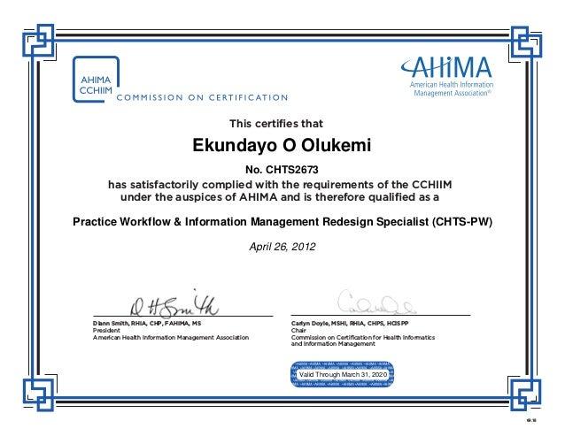ahima certificate slideshare