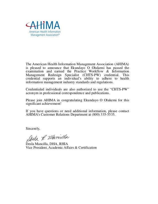 ahima certificate