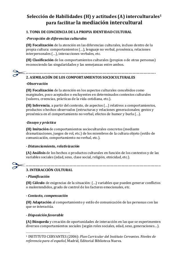 Selección  de  Habilidades  (H)  y  actitudes  (A)  interculturales1   para  facilitar  la  mediació...