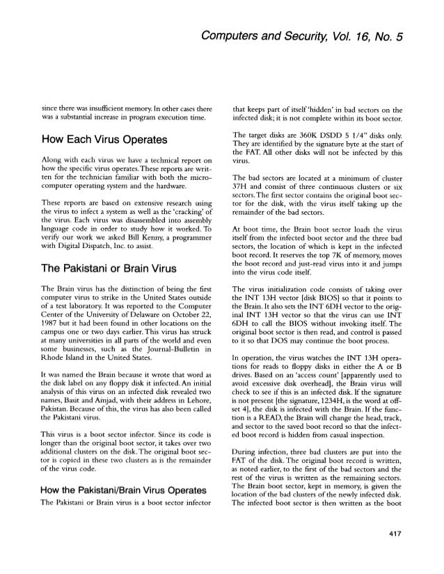A history of computer viruses the famous `trio'