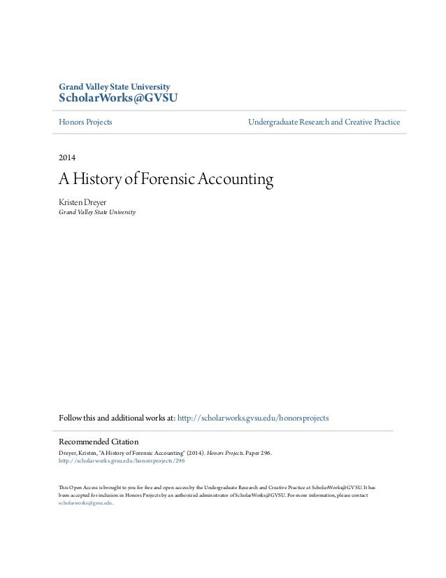 A history of forensic accounting for Forensic audit of mortgage loan documents