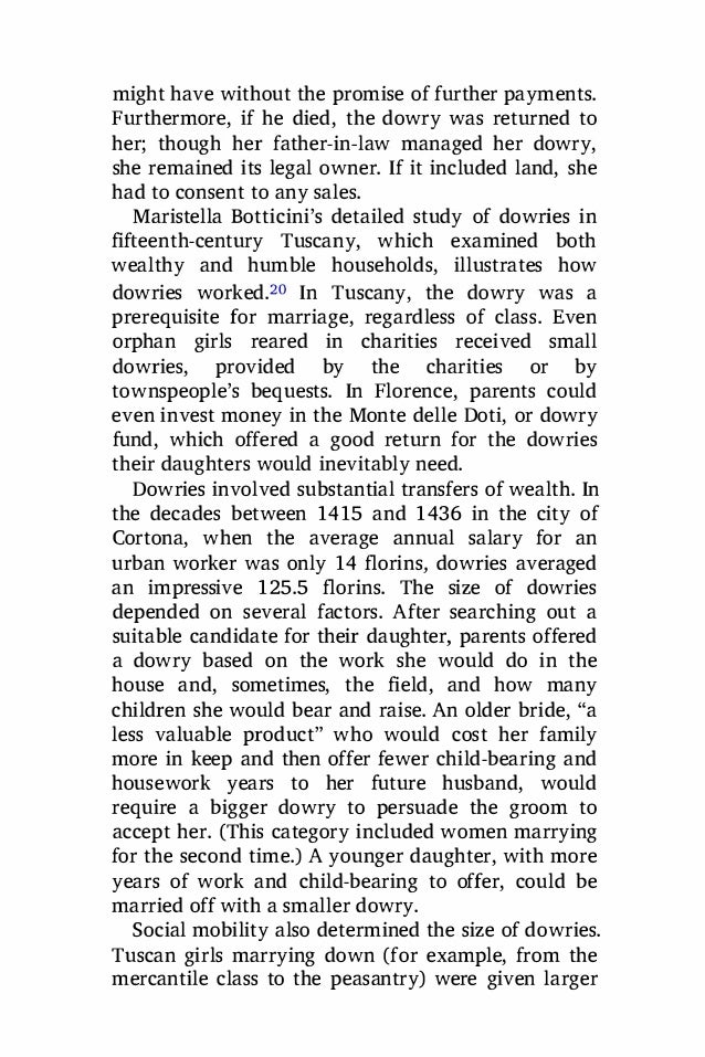 botticini and dowries Abstract dowries have been modeled as pre-mortem bequests to daughters or as  (botticini and siow 2003)  on the heterogeneity of dowry motives 139.